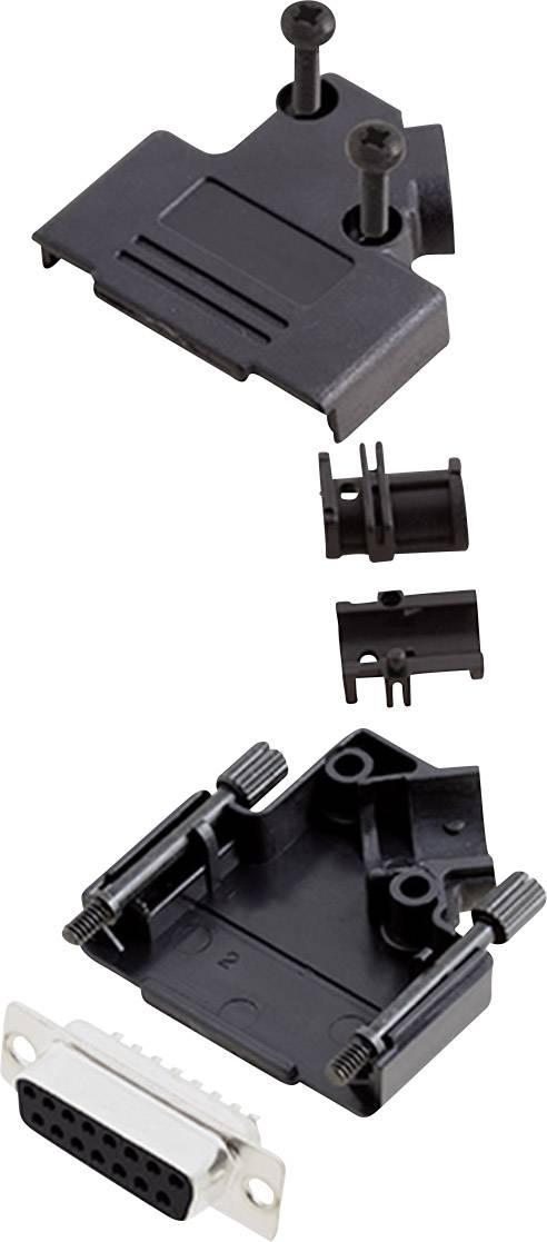 Sada D-SUB zásuvková lišta encitech D45PK-P-15-DMS-K, 45 °, pólů 15, pájecí kalíšek, 1 sada