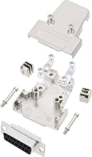 Sada D-SUB zásuvková lišta encitech TRI-M-15-DBS-K, 180 °, pólů 15, pájecí kalíšek, 1 sada