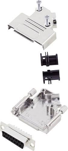 Sada D-SUB zásuvková lišta encitech D45ZK15-DMS-K, 45 °, pólů 15, pájecí kalíšek, 1 sada