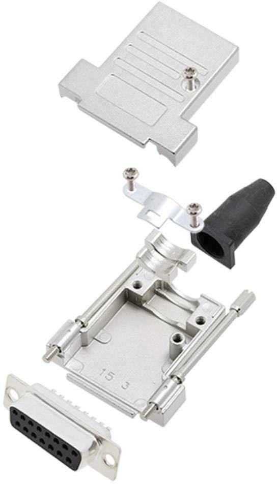 Sada D-SUB zásuvková lišta encitech DTSL15-T-JSRG+DMS-K, 180 °, pólů 15, pájecí kalíšek, 1 sada