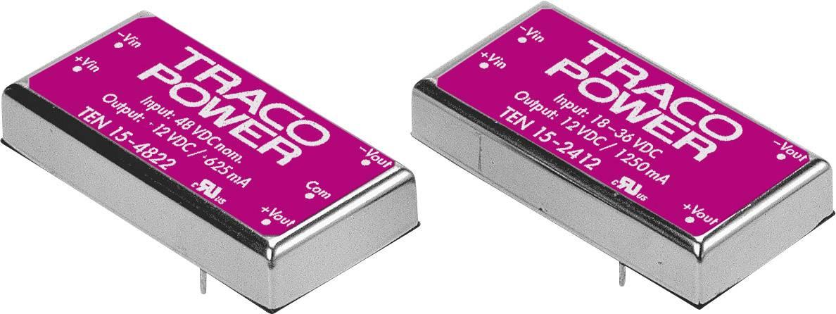 DC/DC měnič napětí do DPS TracoPower TEN 15-2413, 24 V/DC, 15 V/DC, 1000 mA, 15 W, Počet výstupů 1 x