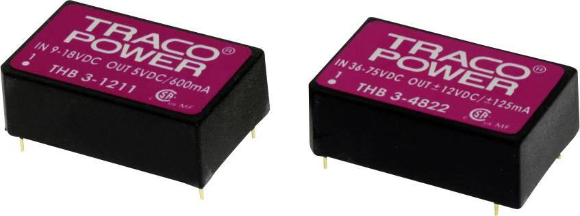 DC/DC měnič napětí do DPS TracoPower THB 3-0515, 5 V/DC, 24 V/DC, 125 mA, 3 W, Počet výstupů 1 x