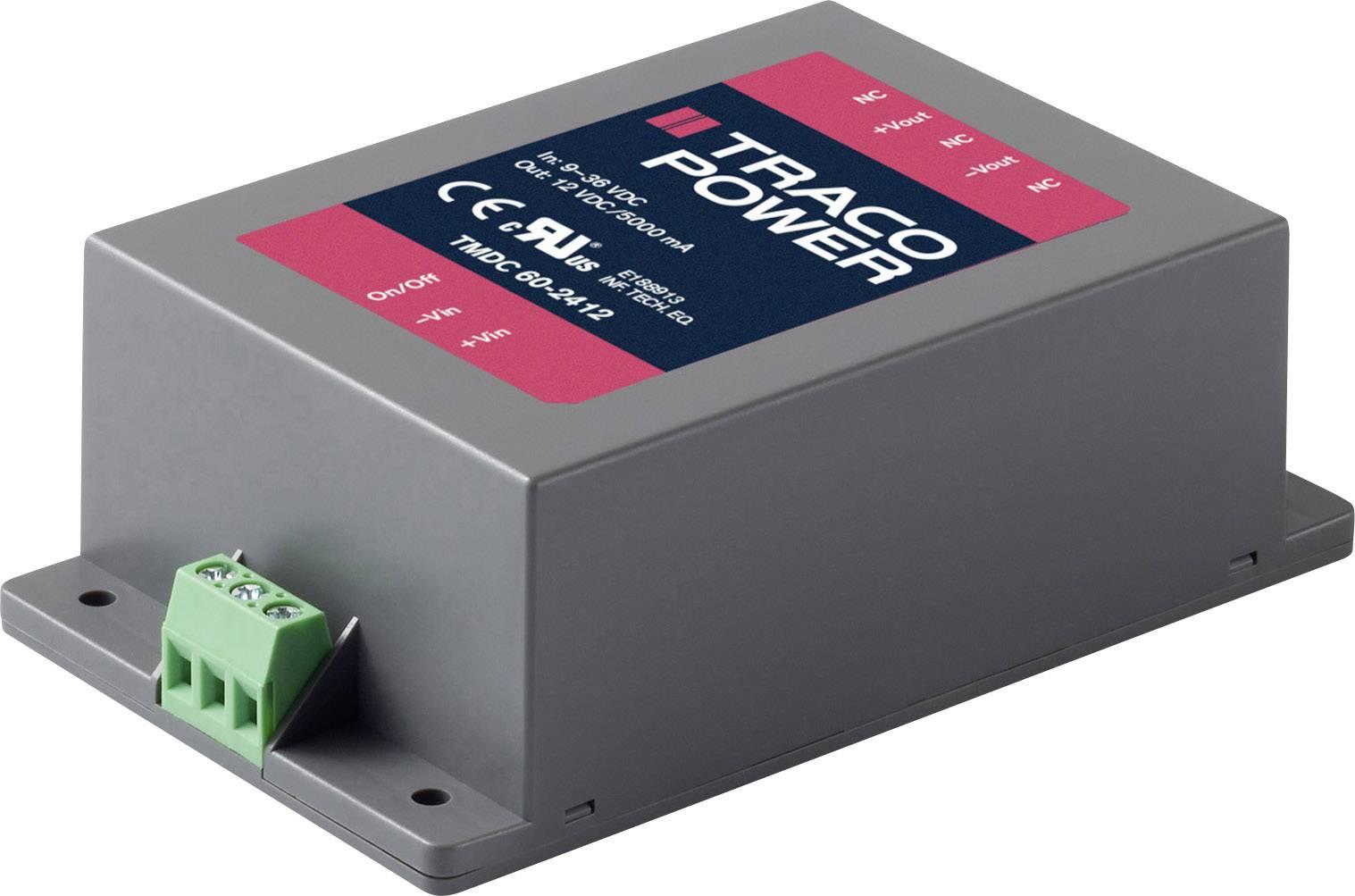 DC/DC měnič napětí, modul TracoPower TMDC 60-4812, 48 V/DC, 12 V/DC, 5000 mA, 60 W, Počet výstupů 1 x