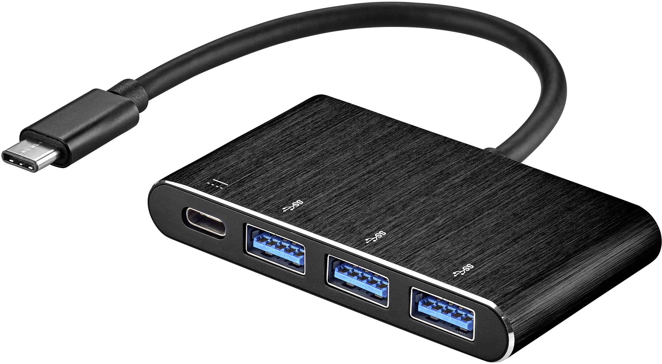 USB 3.0 hub Renkforce rf-USBH-01, s 3 portmi, s funkciou OTG, 37 mm, čierna