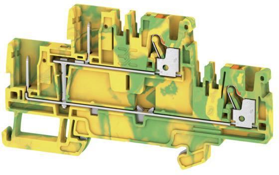Dvojitá průchodková svorka Weidmüller APGTB 2.5 2T PE 4C/2, 1548160000, zelenožlutá, 50 ks