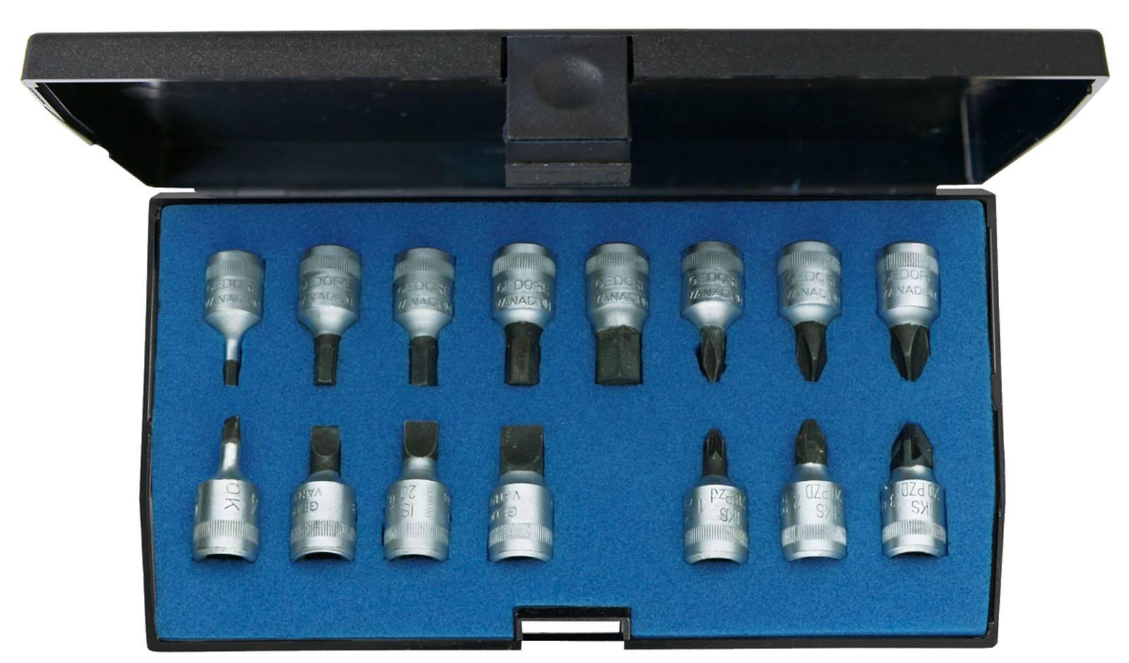 """Sada nástrčných klíčů a bitů, inbus, plochý, křížový PH, křížový PZ Gedore 1815601, 1/4"""" (6,3 mm), chrom-vanadová speciální ocel , 15dílná"""