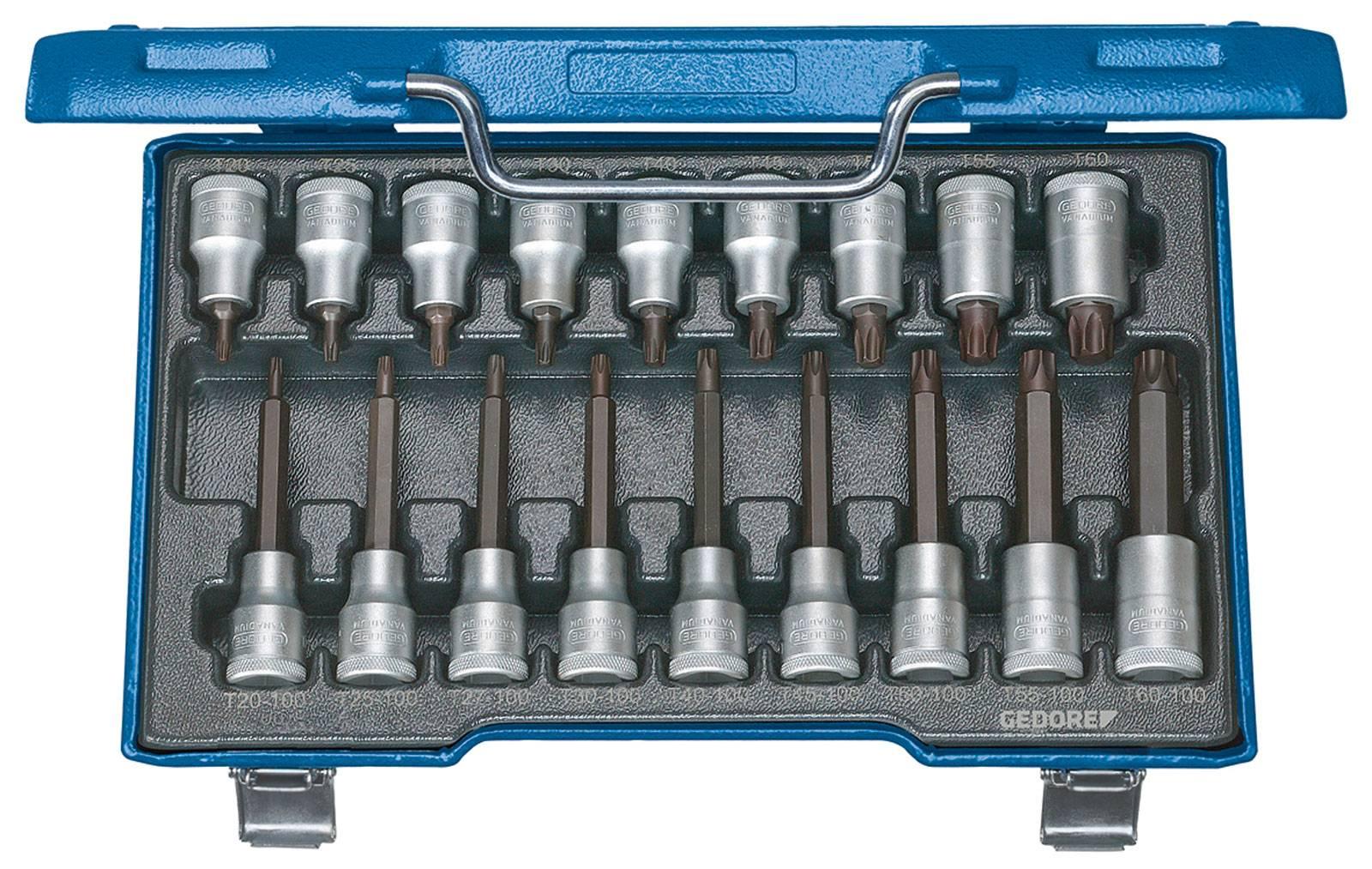 """Sada nástrčných klíčů a bitů, TORX Gedore 6138510, 1/2"""", 18dílná"""