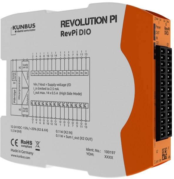 Rozšiřující modul pro PLC SPS Kunbus RevPi DIO PR100197, 24 V