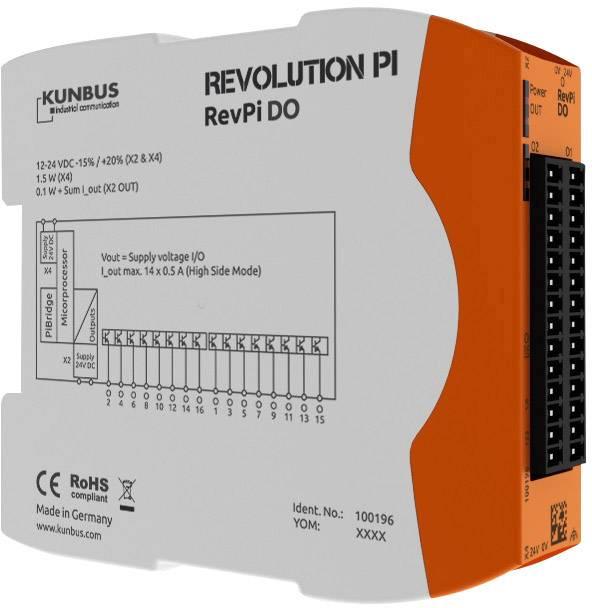 Rozšiřující modul pro PLC SPS Kunbus RevPi DO PR100196, 24 V