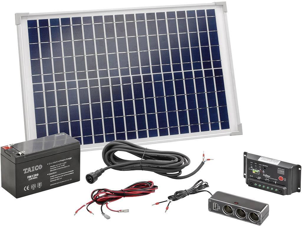 Solárna sada s USB Esotec Poly 120005, 20 Wp, vr. akumulátora, vr. kábla, vr. nabíjacieho regulátora