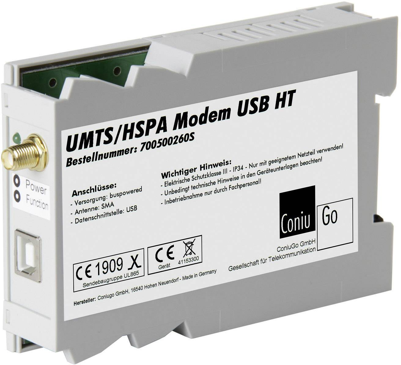 UMTS modem ConiuGo 700500260S (USB-Version), 9 V/DC, 12 V/DC, 24 V/DC, 35 V/DC