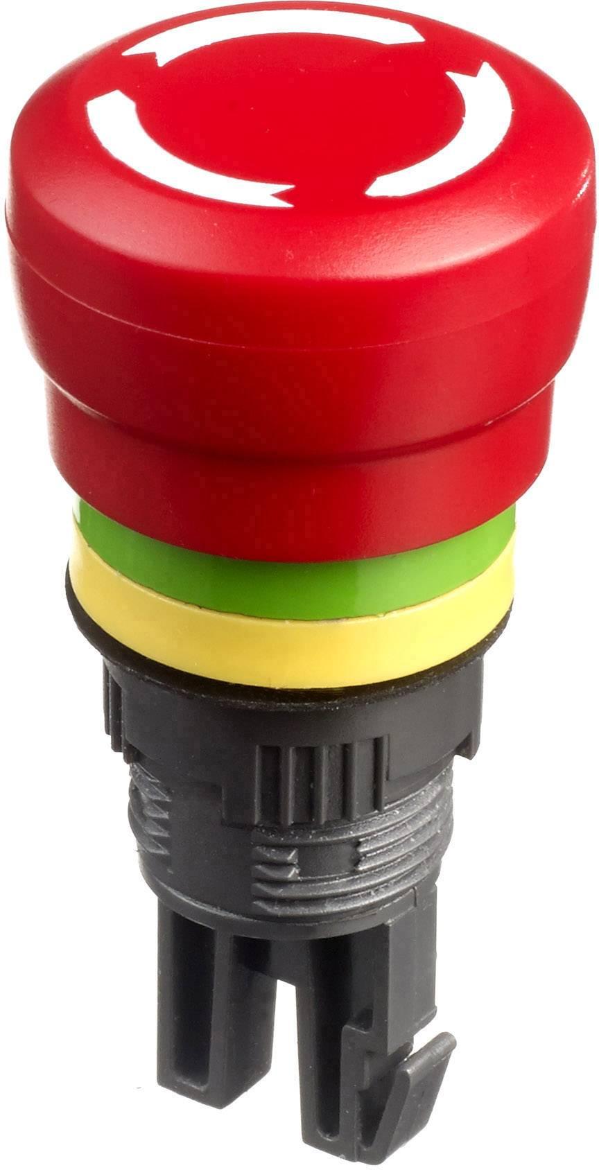 Núdzový vypínač APEM A01ES-DF2, otočenie, červená, žltá, zelená,, 1 ks