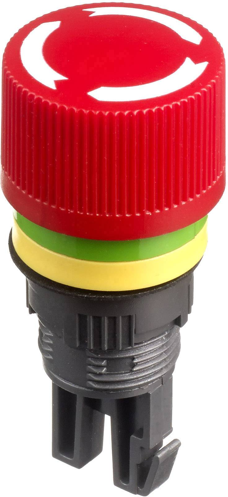 Núdzový vypínač APEM A01ES-D, otočenie, červená, žltá, zelená,, 1 ks