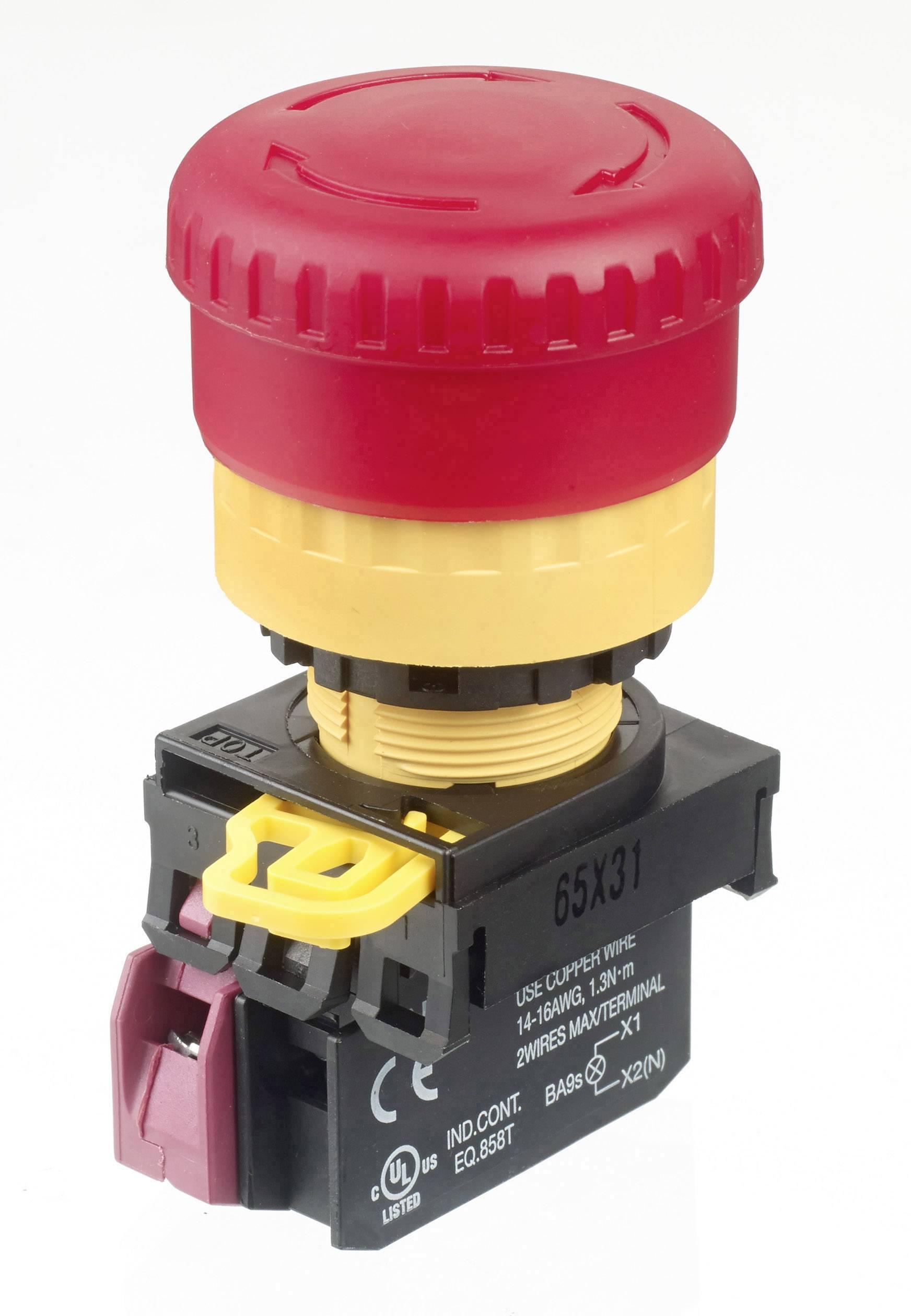 Núdzový vypínač APEM A02ESI4B101IR2, s možnosťou osvetlenia, 240 V/AC, 3 A