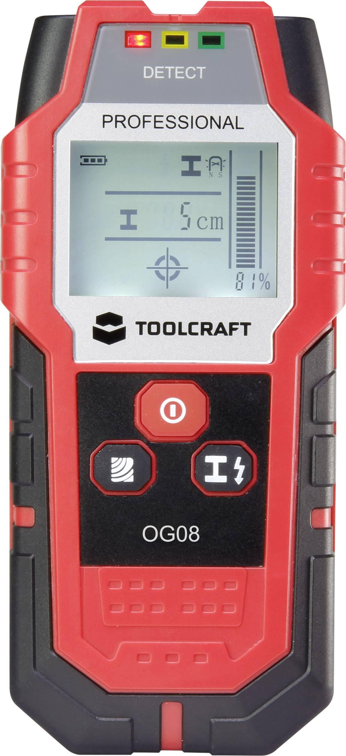 Detektor neželezných kovov, železných kovov, dreva TOOLCRAFT OG 08 ATT.NUM.LOCATING_DEPTH_MAX 80 mm