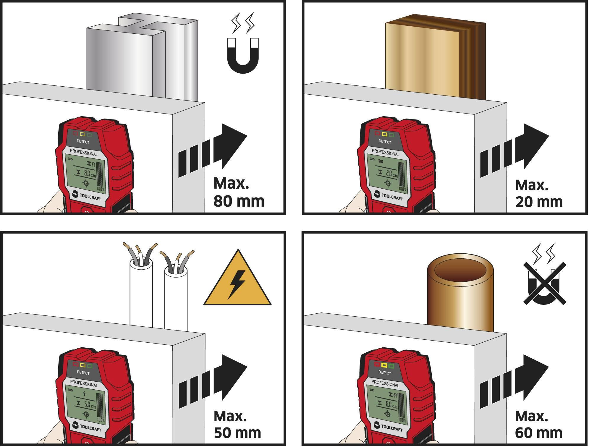 Detektor neželezných kovů, železných kovů, dřeva TOOLCRAFT OG 08
