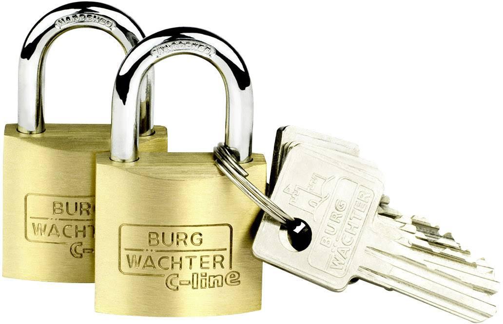 Visací zámek na klíč Burg Wächter 2er Set Duo 222 30 SB, mosaz