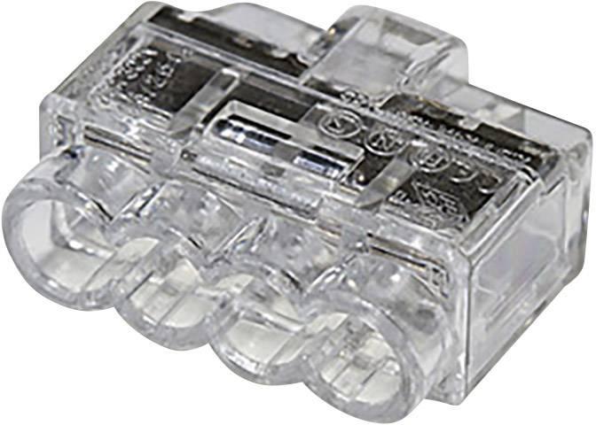 Krabicová svorkovnica HellermannTyton HCPM-4 na kábel s rozmerom 1-2.5 mm², pólů 4, 1 ks, priehľadná
