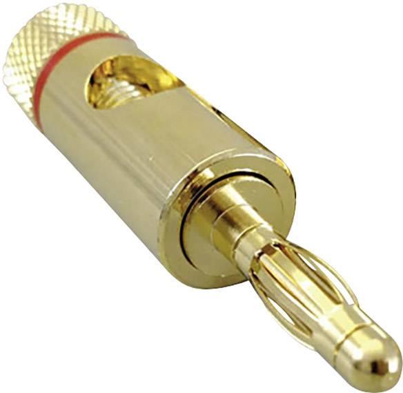 Lamelová zástrčka BKL Electronic – zástrčka, rovná, Ø hrotu: 4 mm, červená, 1 ks