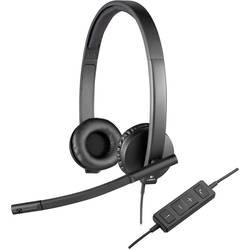 Headset k PC s USB stereo, na kabel Logitech H570e přes uši černá
