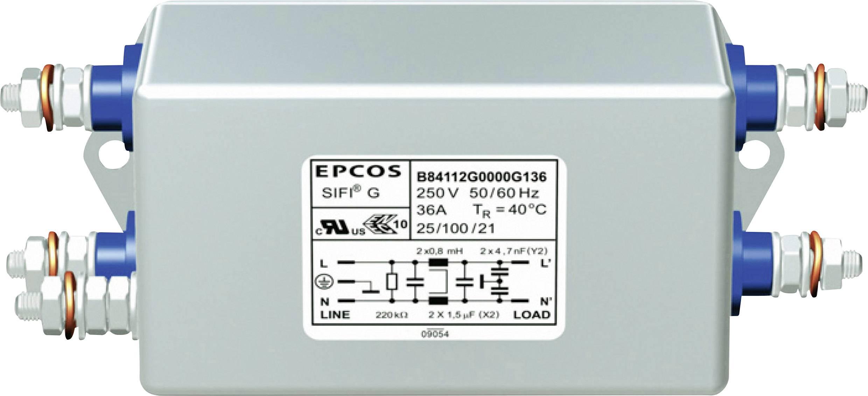 Odrušovací filter Epcos B84112G0000G120 B84112G0000G120, samohasiace, 250 V/AC, 2 A, 1.8 mH, (d x š x v) 45 x 74.6 x 26 mm, 1 ks