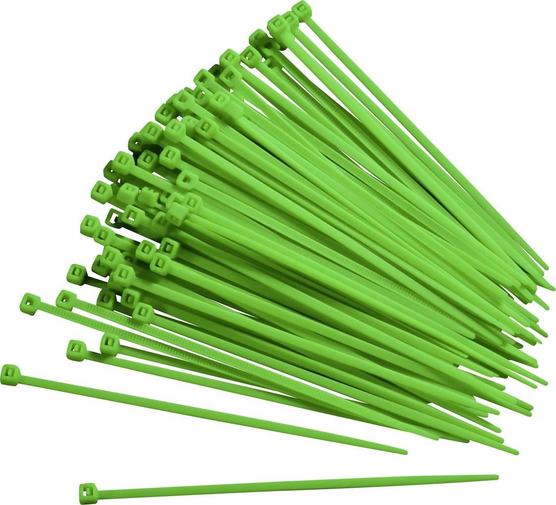 Sťahovacie pásky TRU COMPONENTS 93038c411, 150 mm, zelená, 100 ks
