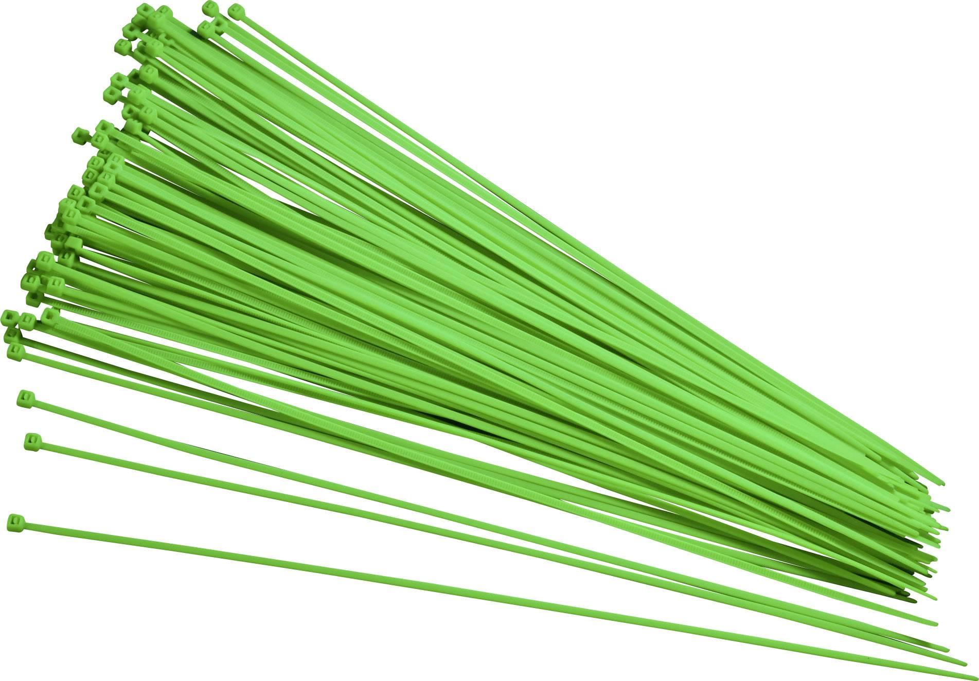 Stahovací pásky TRU COMPONENTS 93038c414, 200 mm, zelená, 100 ks