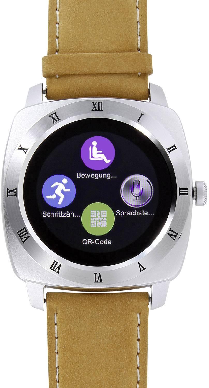 "Smartwatch inteligentné hodinky Xlyne Nara XW Pro CL, 3.1 cm, 1.22 "", strieborná, hnedá"