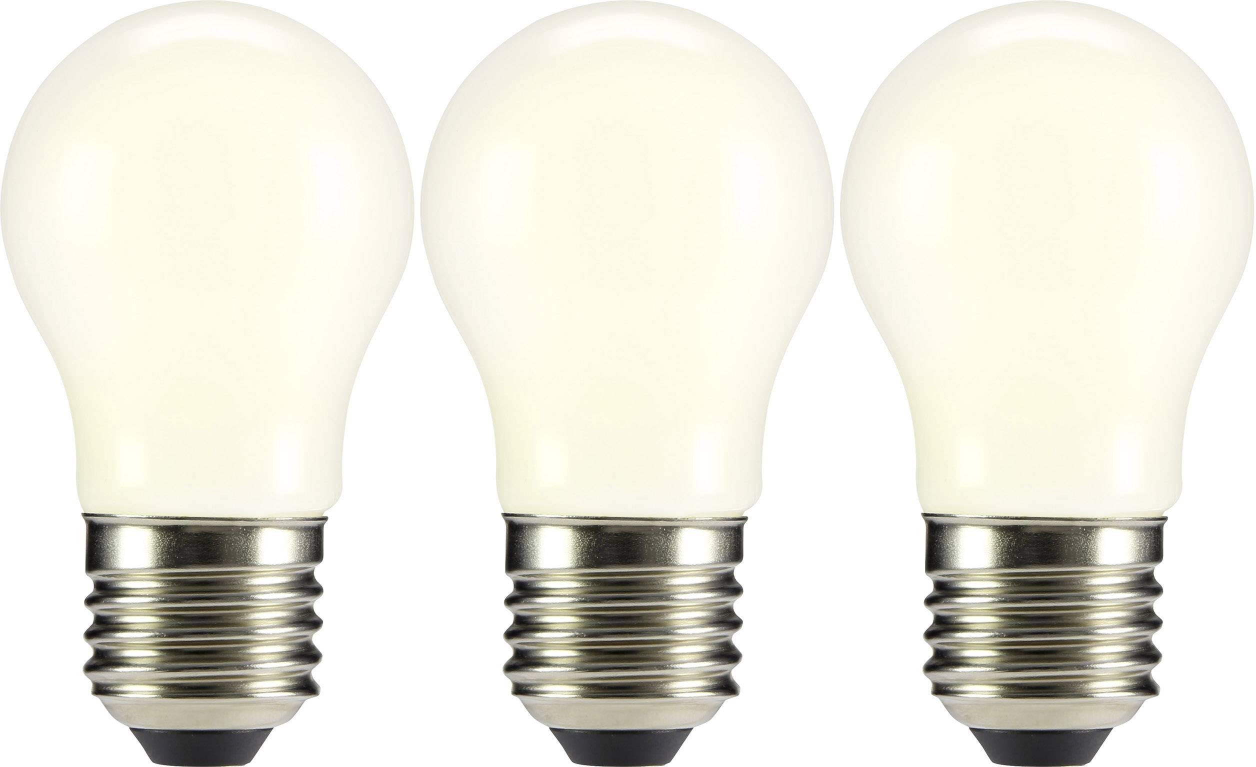 LED žárovka Sygonix 230 V, E27, 2 W = 23 W, teplá bílá, A++, kapkovitý tvar, vlákno, 3 ks