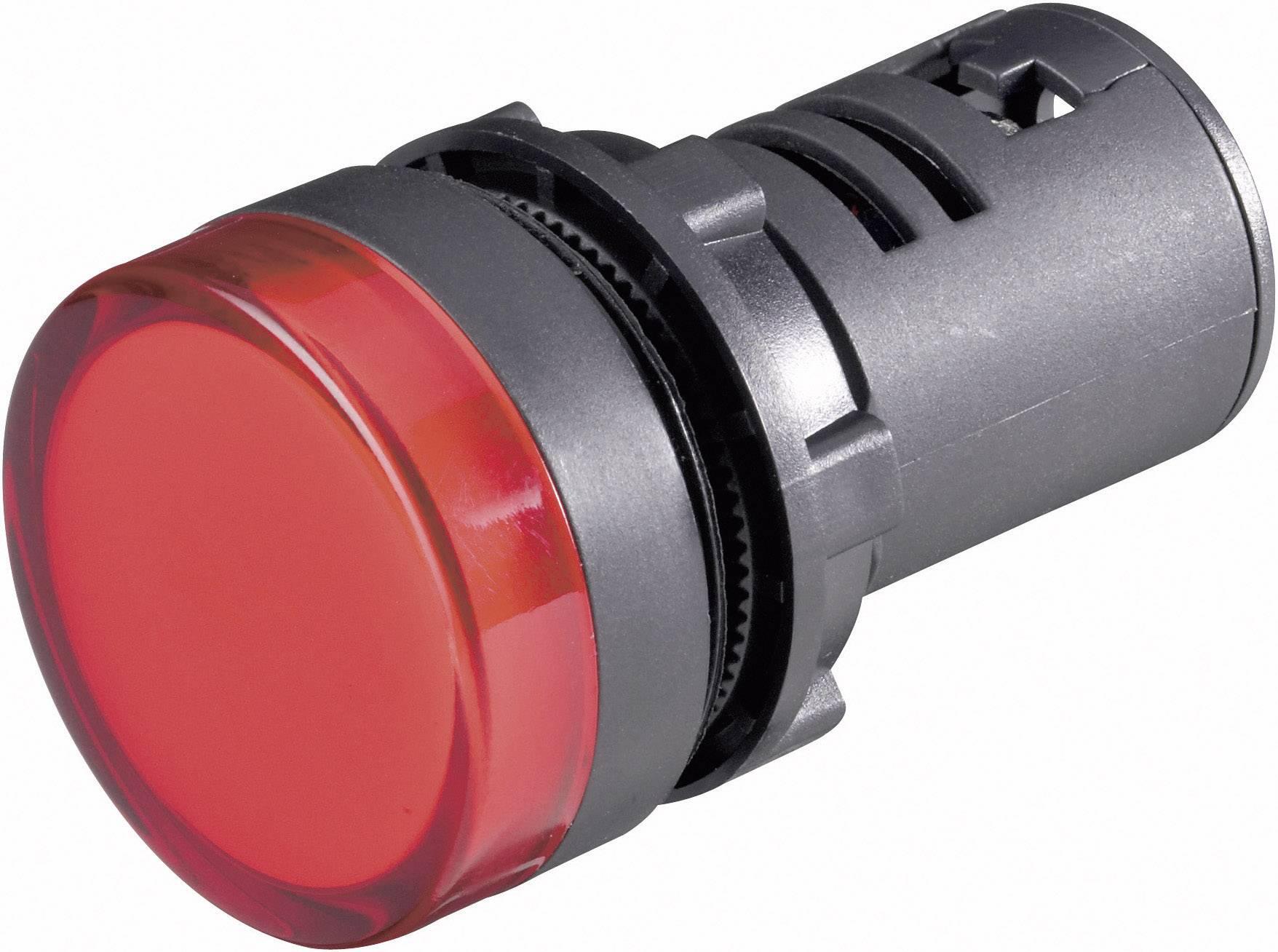 Blikající LED signálka, 22 x 64 mm, 230 V, červená