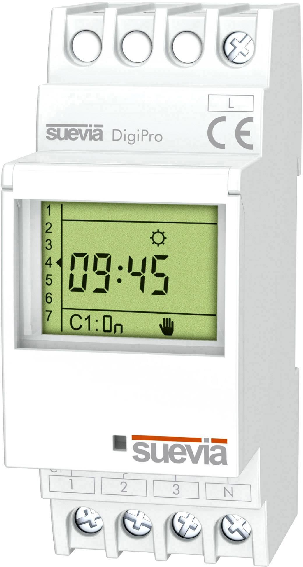 Spínací hodiny na DIN lištu Suevia DigiPro, SU172012, 1 ks