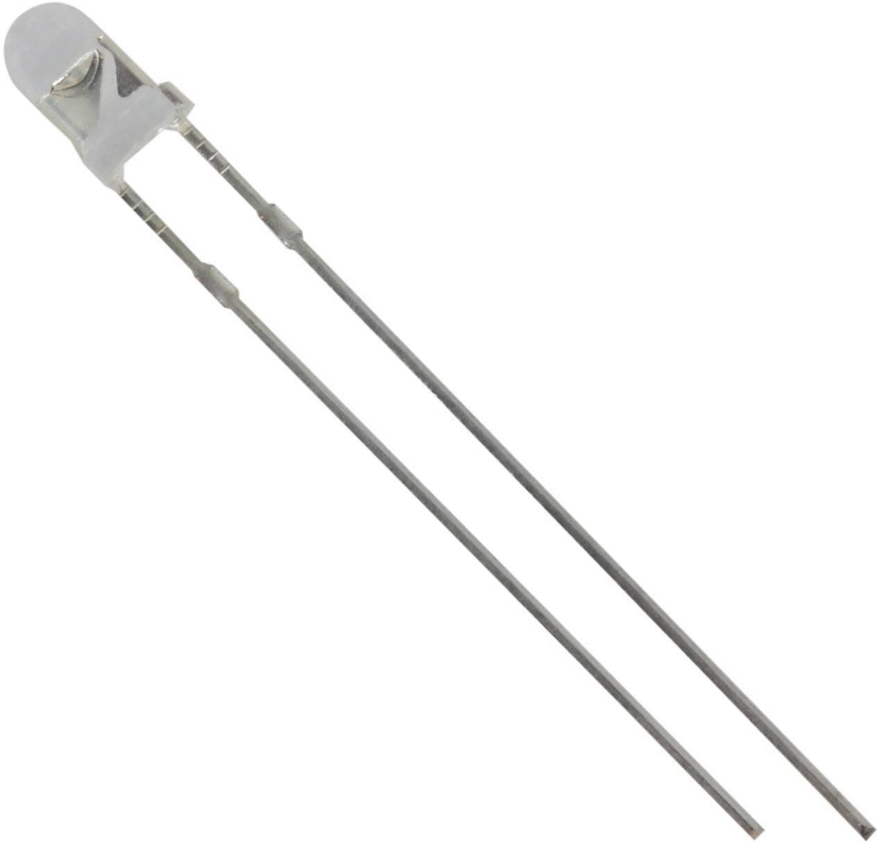 LED s vývody HuiYuan 3034W2C-CSC-A, typ čočky kulatý, 3 mm, 25 °, 20 mA, 2800 mcd, 3.1 V, bílá