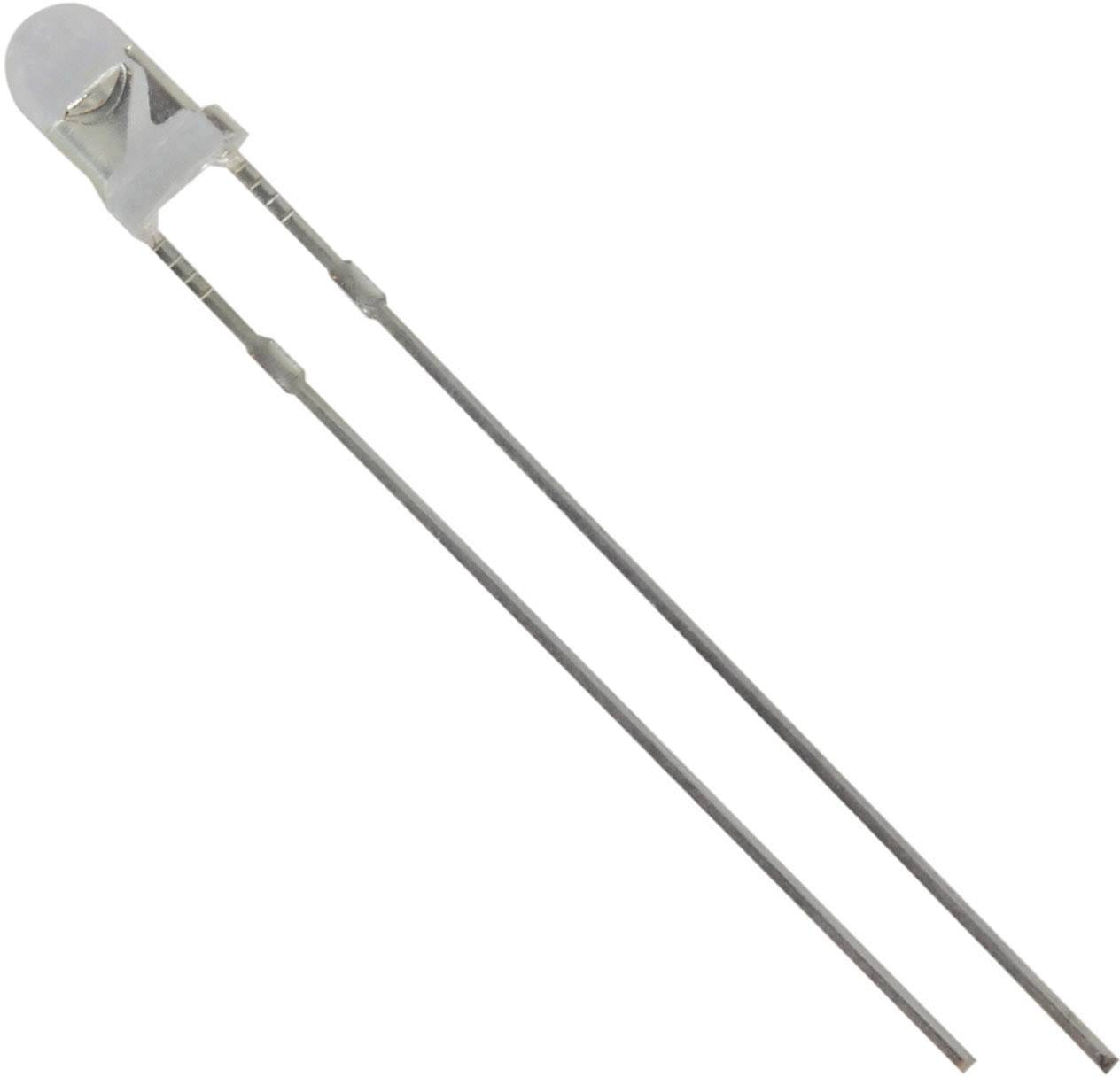 LED s vývody HuiYuan 3034W2C-DSE-C, typ čočky kulatý, 3 mm, 40 °, 20 mA, 5500 mcd, 3.1 V, bílá