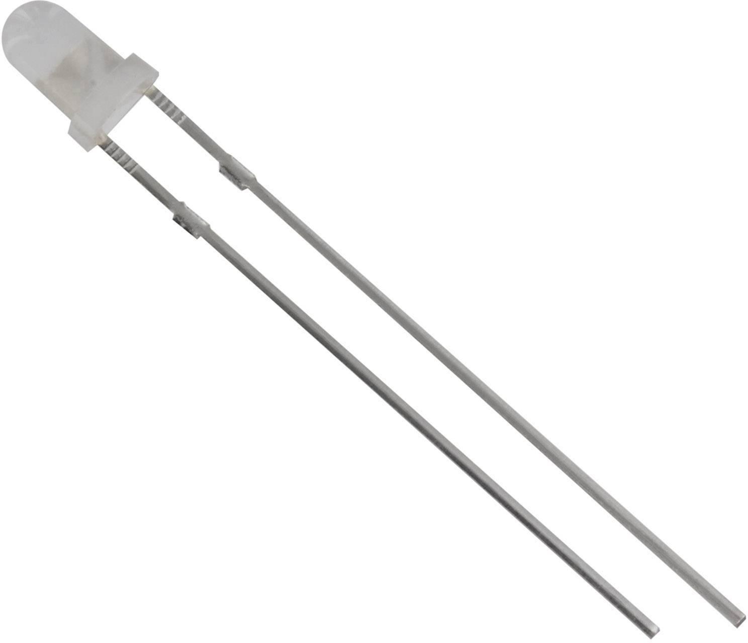 LEDsvývodmi HuiYuan 3034W2D-ESA-B, typ čočky guľatý, 3 mm, 60 °, 20 mA, 1800 mcd, 3.1 V, biela