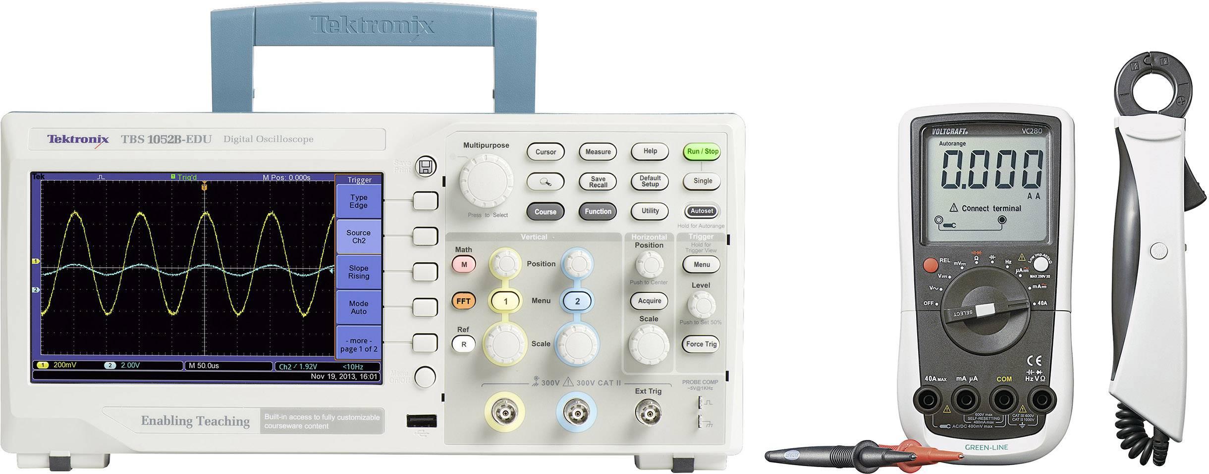 Digitálny osciloskop Tektronix TBS1052B-EDU + multimetr DMM VC280, sada, 50 MHz, 2-kanálový, kalibrácia podľa ISO