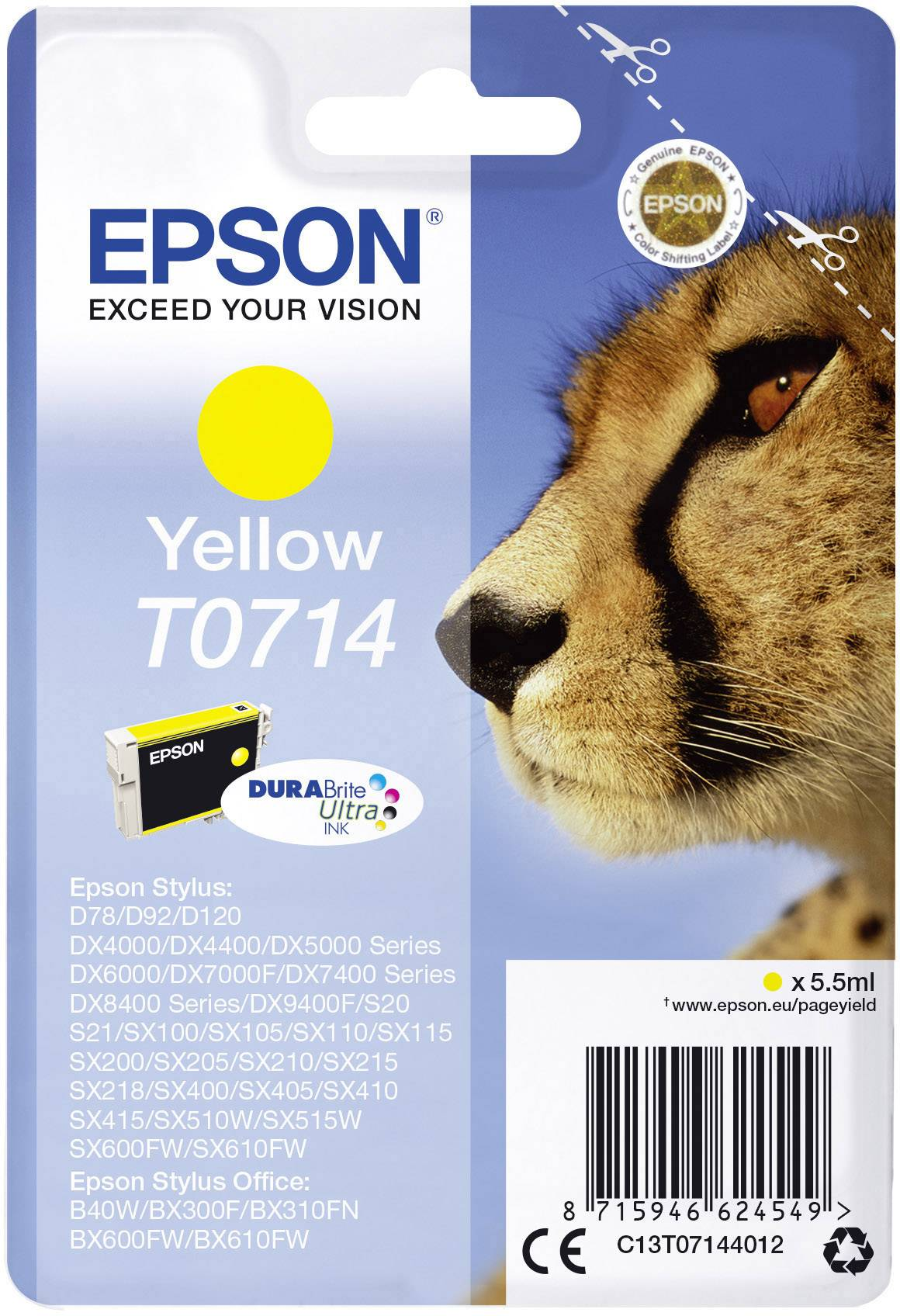 Epson Ink T0714 originál žlutá C13T07144012