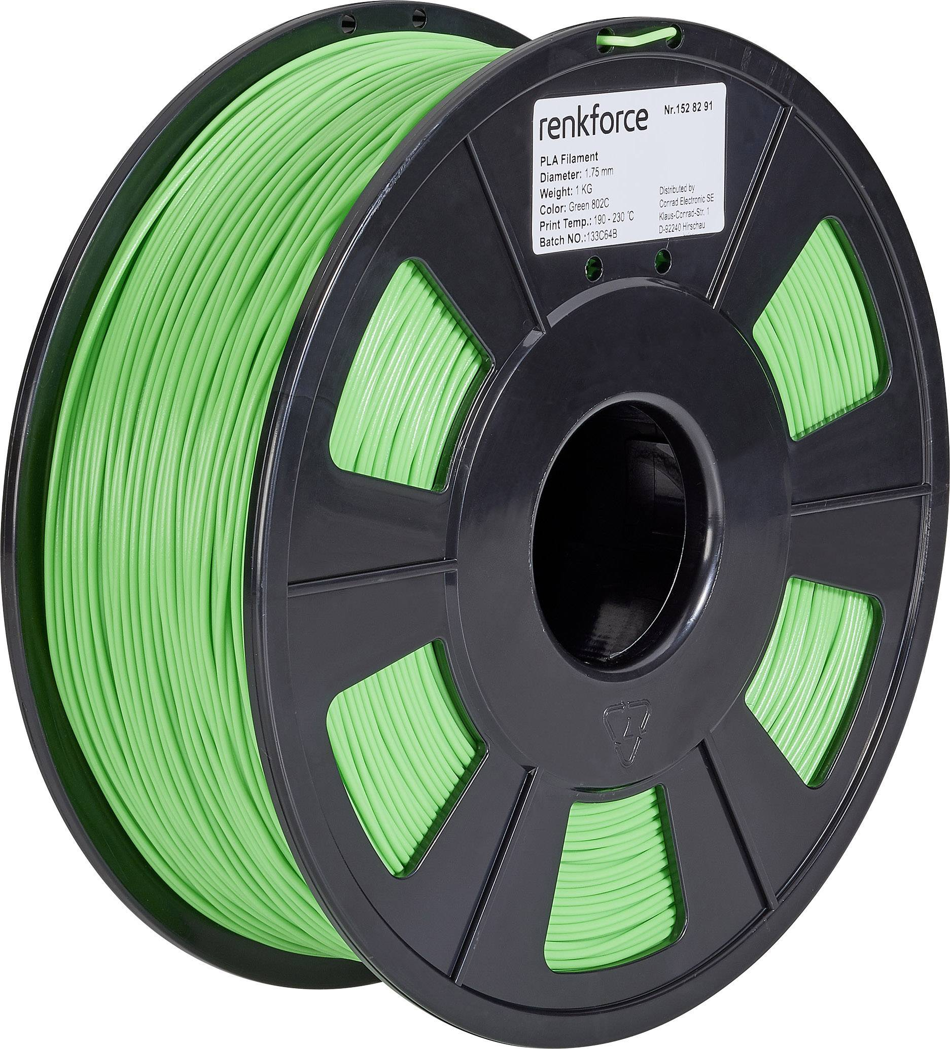 Vlákno pre 3Dtlačiarne, Renkforce 01.04.01.1110, PLA plast , 1.75 mm, 1 kg, zelená