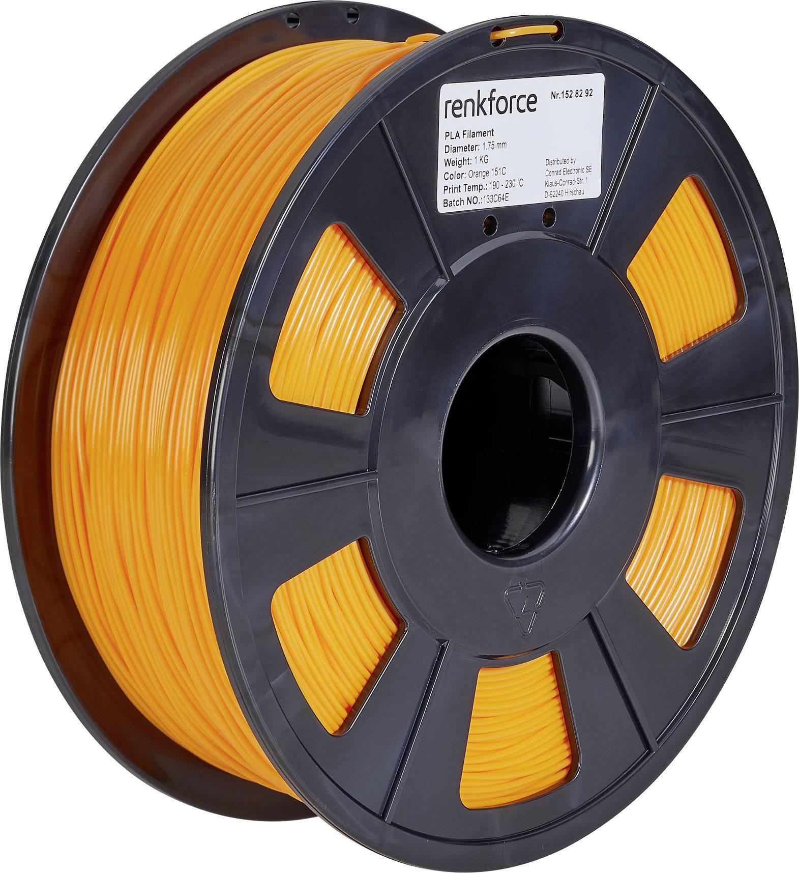 Vlákno pre 3Dtlačiarne, Renkforce 01.04.01.1111, PLA plast , 1.75 mm, 1 kg, oranžová