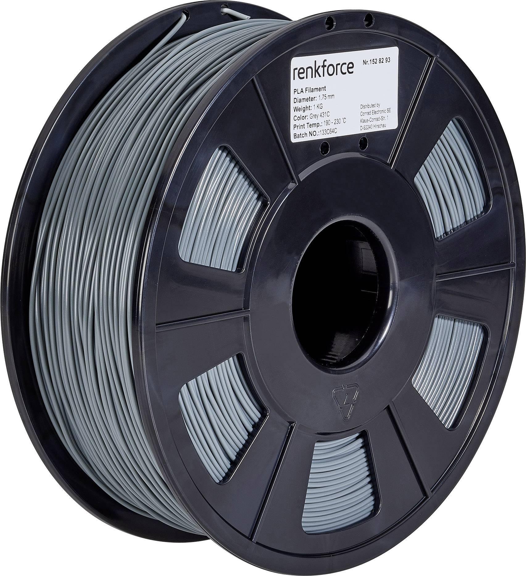 Vlákno pre 3Dtlačiarne, Renkforce 01.04.01.1115, PLA plast , 1.75 mm, 1 kg, sivá