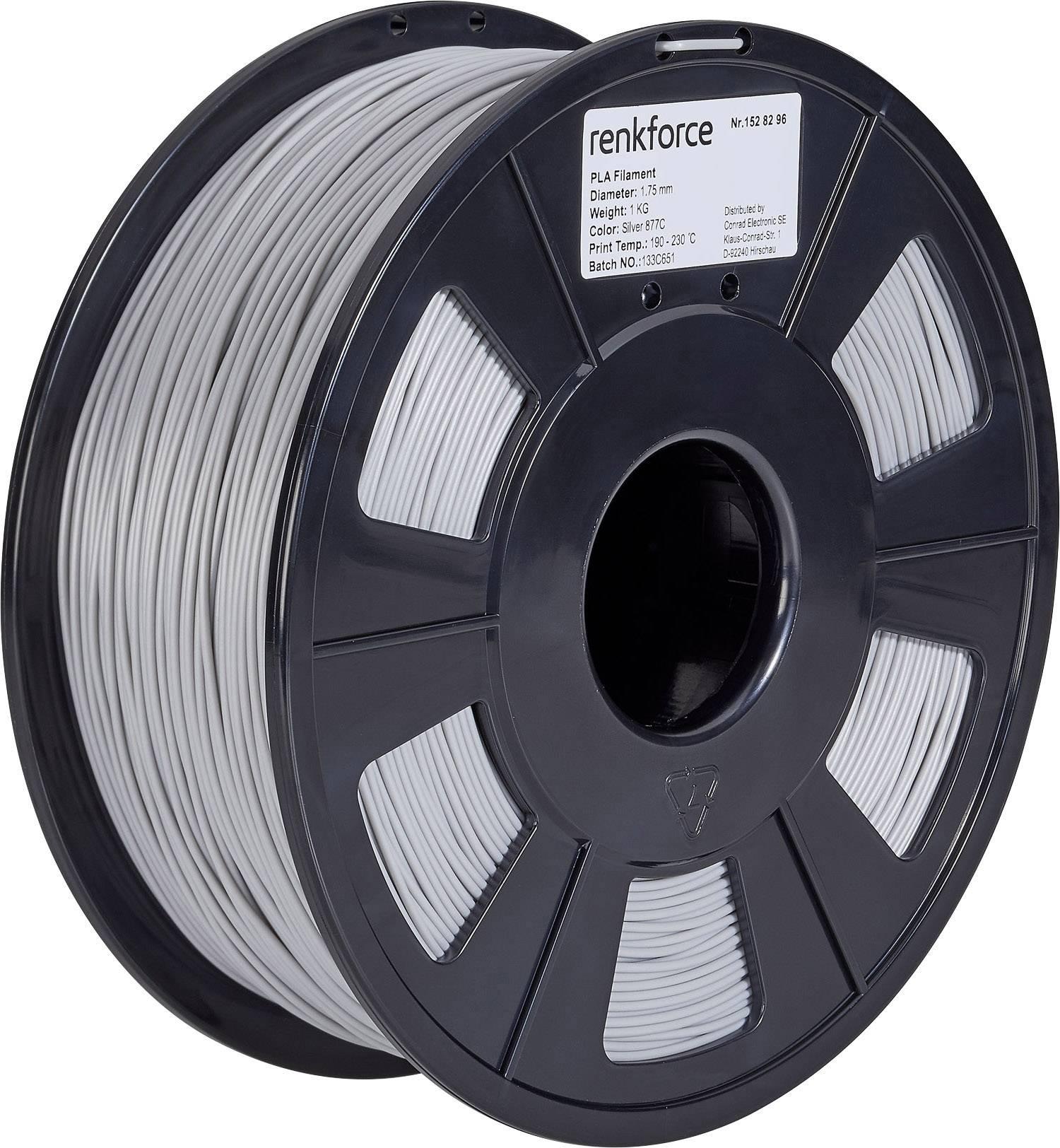Vlákno pre 3Dtlačiarne, Renkforce 01.04.01.1117, PLA plast , 1.75 mm, 1 kg, strieborná