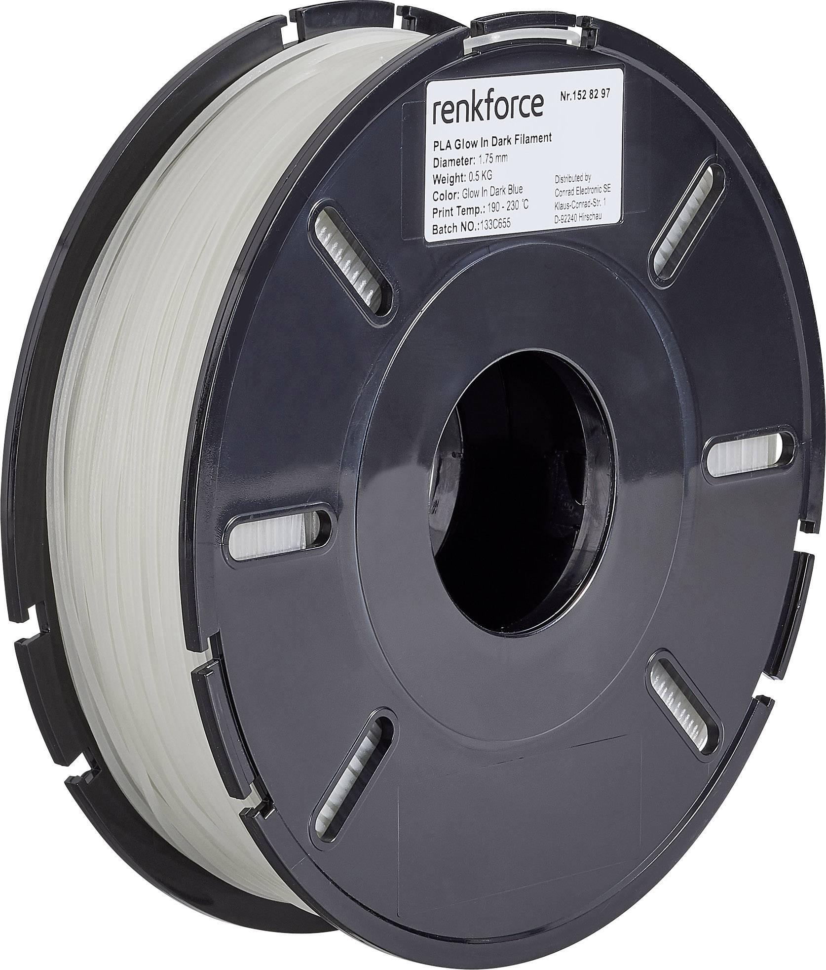 Vlákno pre 3Dtlačiarne, Renkforce 01.04.01.5122, PLA plast , 1.75 mm, 500 g, modrá (fluorescenčná)