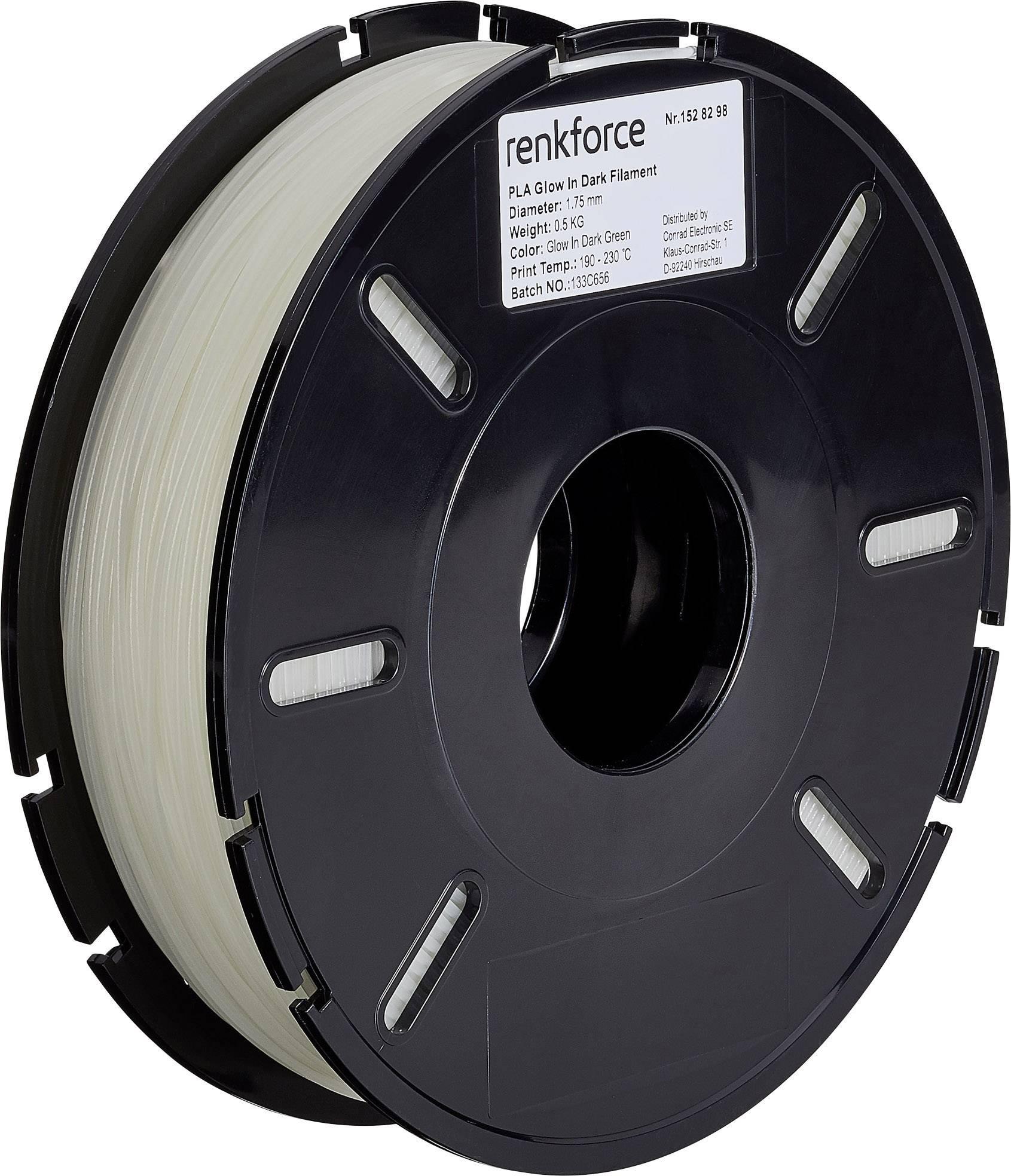 Vlákno pro 3D tiskárny Renkforce 01.04.01.5123, PLA plast, 1.75 mm, 500 g, zelená reflexní