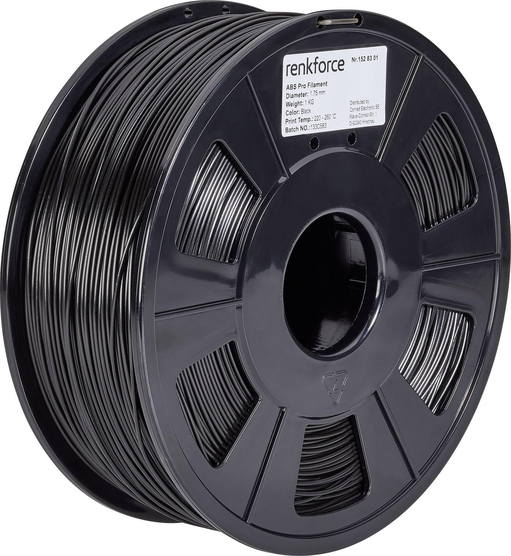 Vlákno pro 3D tiskárny Renkforce 01.04.12.1103, ABS plast, 1.75 mm, 1 kg, černá