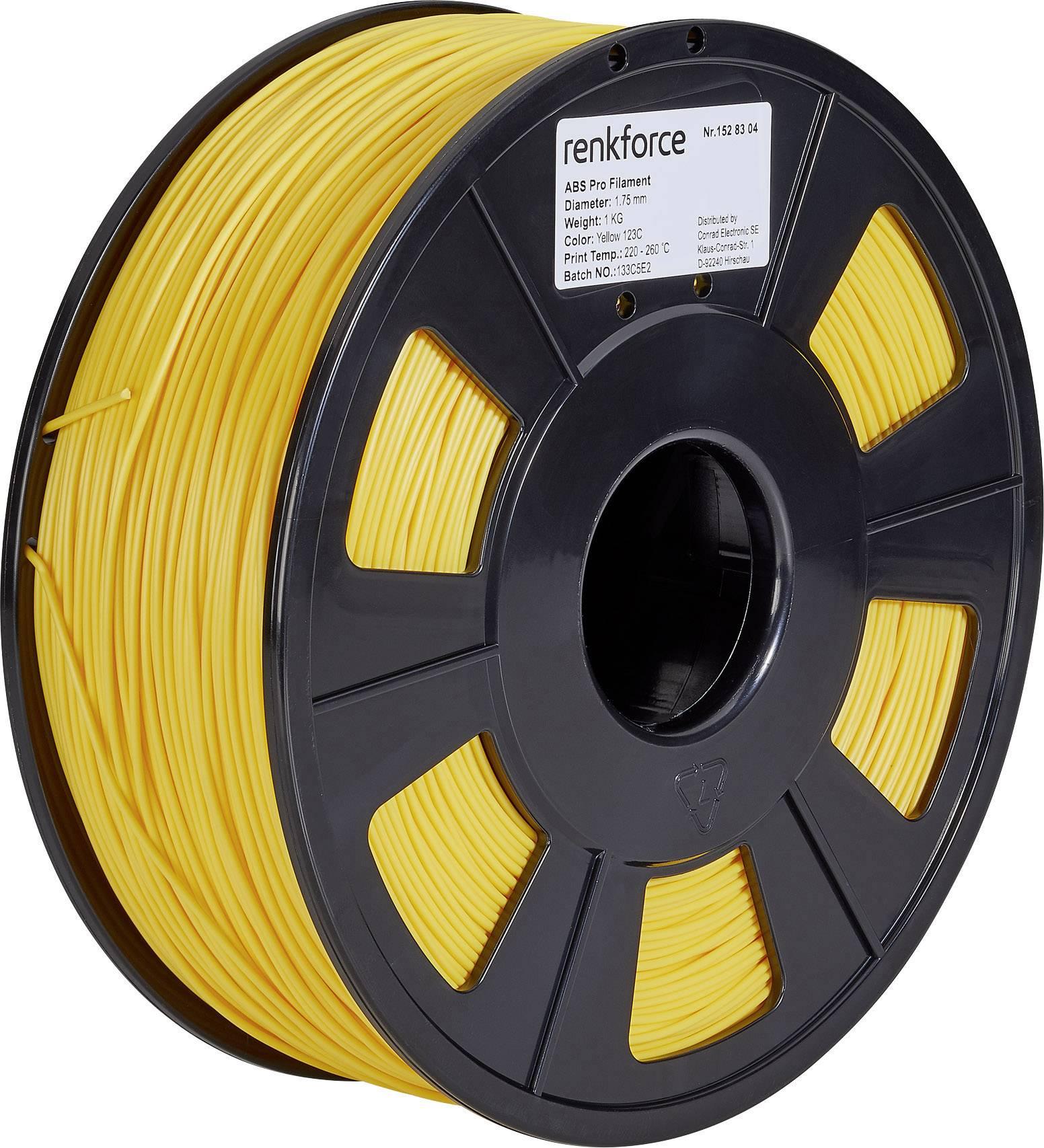 Vlákno pro 3D tiskárny Renkforce 01.04.12.1112, ABS plast, 1.75 mm, 1 kg, žlutá