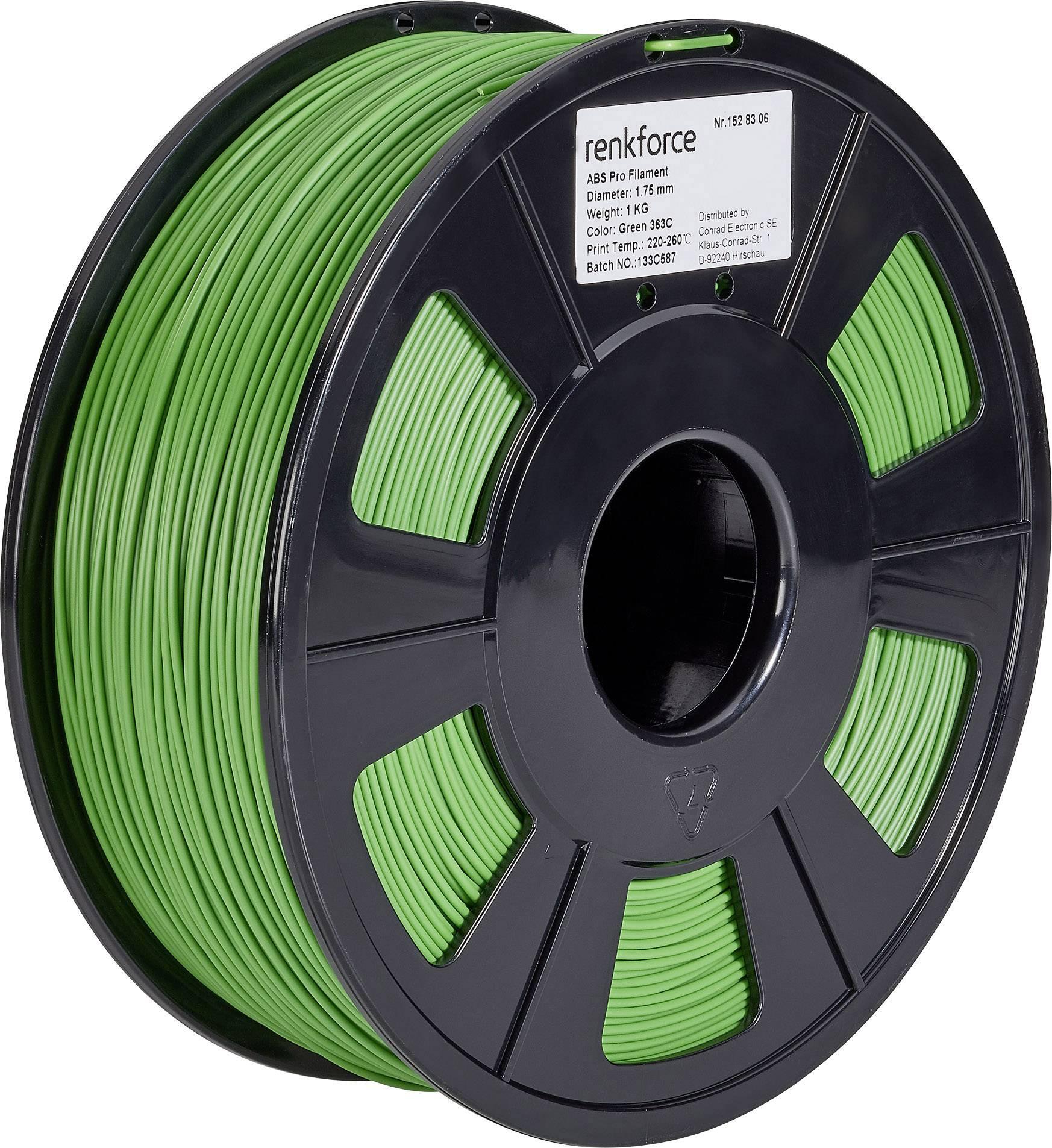 Vlákno pro 3D tiskárny Renkforce 01.04.12.1109, ABS plast, 1.75 mm, 1 kg, zelená