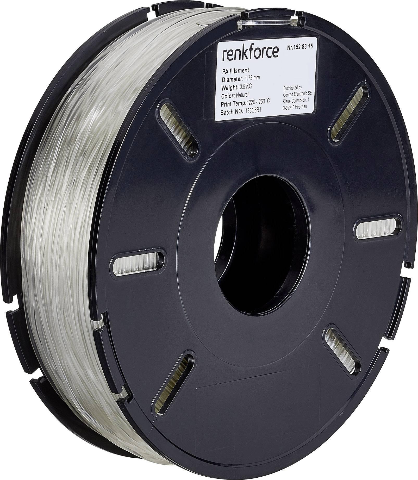 Vlákno pro 3D tiskárny Renkforce 01.04.06.5101, PA polyamid, 1.75 mm, 500 g, transparentní
