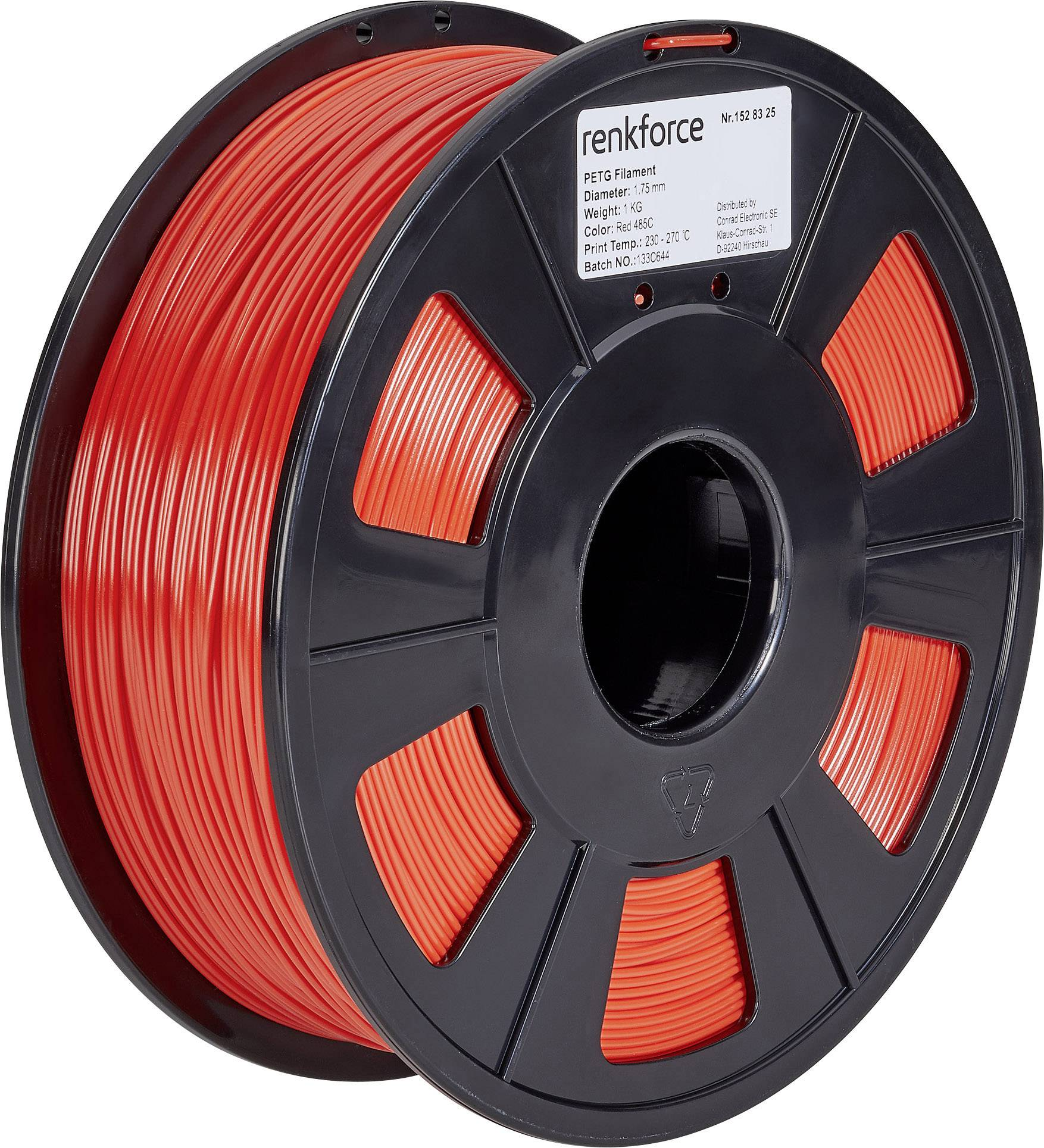 Vlákno pre 3Dtlačiarne, Renkforce 01.04.18.1104, PETG plast, 1.75 mm, 1 kg, červená