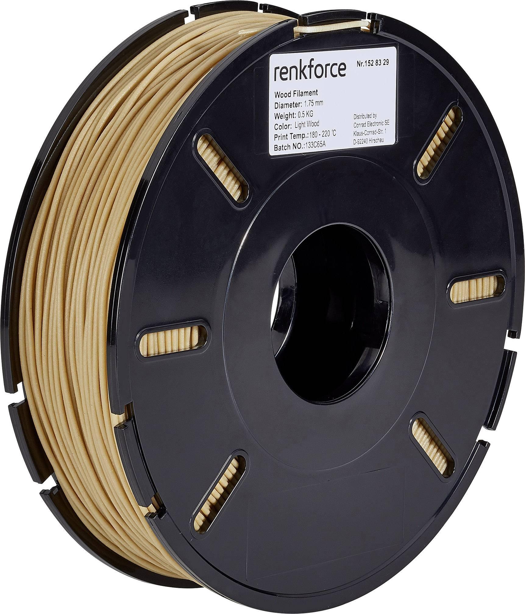 Vlákno pro 3D tiskárny Renkforce 01.04.10.5101, kompozit PLA, 1.75 mm, 500 g, dřevo