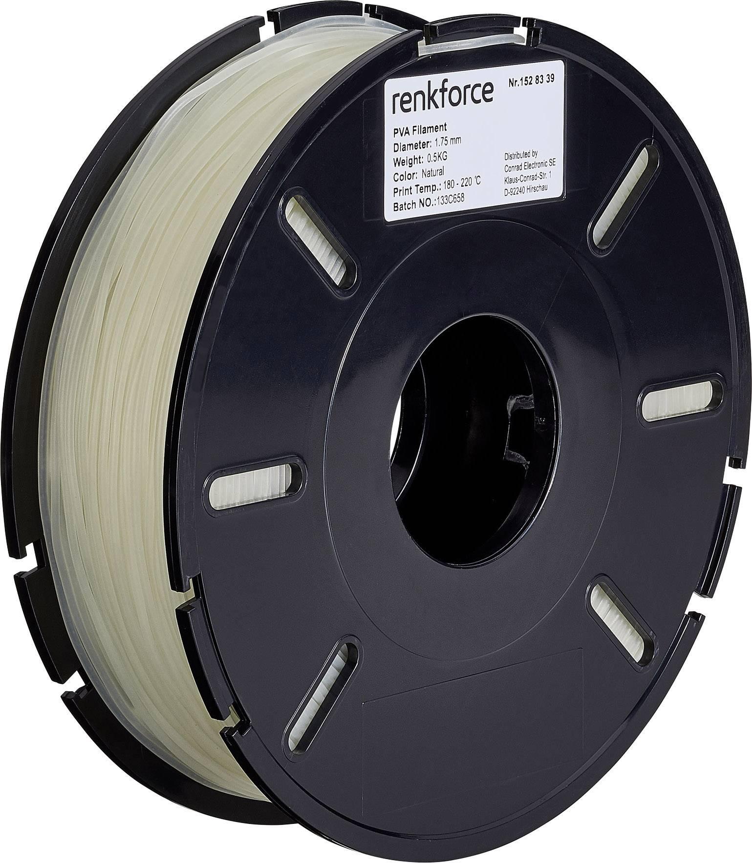 Vlákno pro 3D tiskárny Renkforce 01.04.05.5101, PVA plast, 1.75 mm, 500 g, transparentní