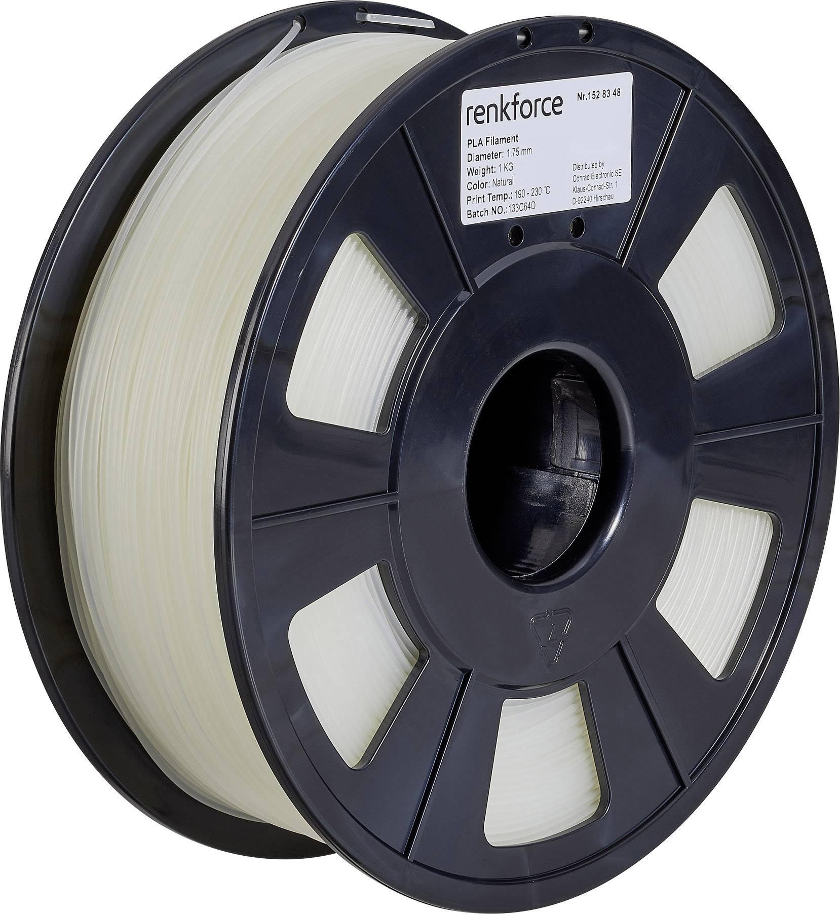 Vlákno pro 3D tiskárny Renkforce 01.04.01.1101, PLA plast, 1.75 mm, 1 kg, transparentní